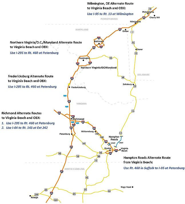 Vdot Traffic Map.I 64 Widening Alternate Routes